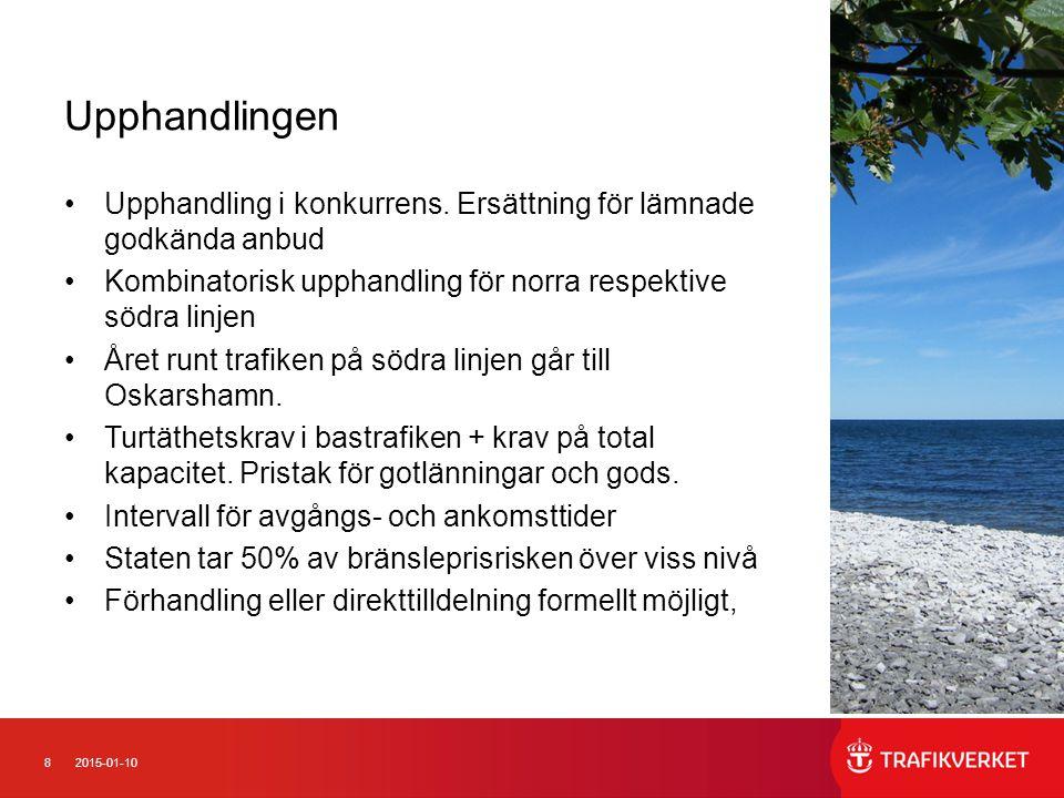 92015-01-10 Tidplan för det fortsatta arbetet Förfrågningsunderlag ut3 maj 2013 Anbudstid6 mån Kontrakt 1.a halvåret 2014 Trafikstart 1 februari 2017