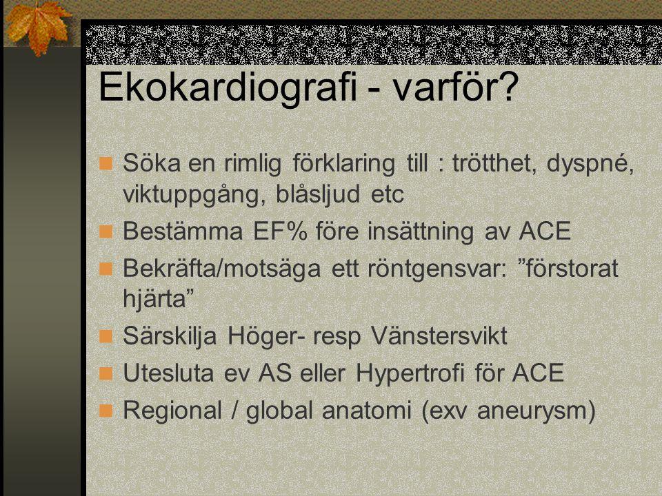 Ekokardiografi - varför? Söka en rimlig förklaring till : trötthet, dyspné, viktuppgång, blåsljud etc Bestämma EF% före insättning av ACE Bekräfta/mot