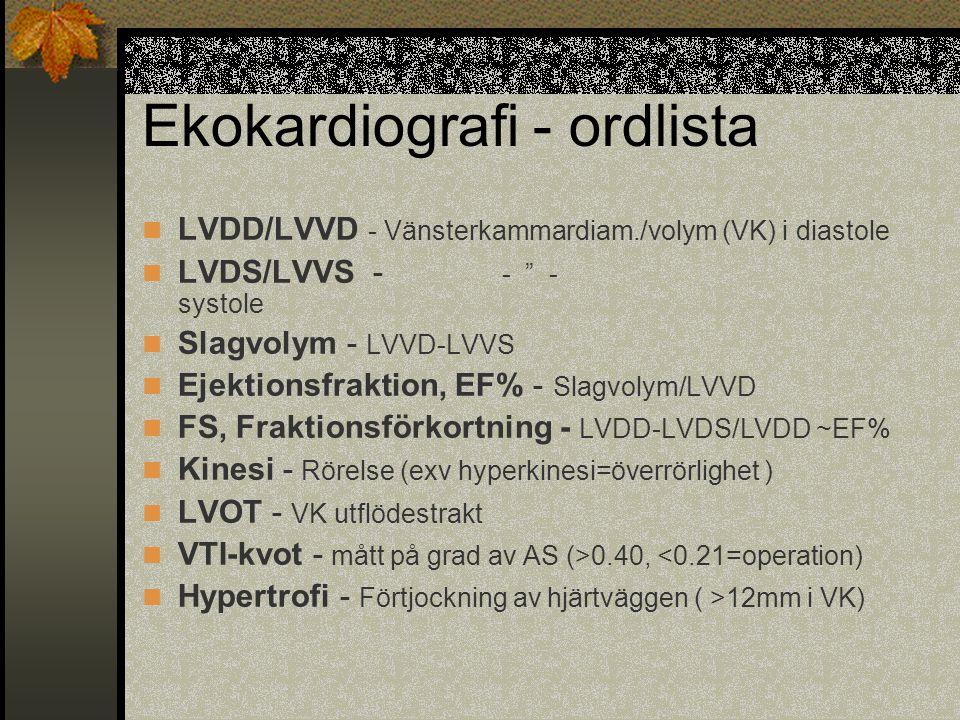 """Ekokardiografi - ordlista LVDD/LVVD - Vänsterkammardiam./volym (VK) i diastole LVDS/LVVS - - """" - systole Slagvolym - LVVD-LVVS Ejektionsfraktion, EF%"""