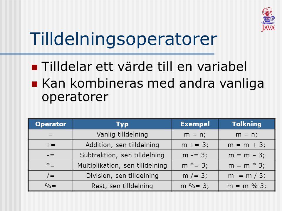 Tilldelningsoperatorer OperatorTypExempelTolkning =Vanlig tilldelningm = n; +=Addition, sen tilldelningm += 3;m = m + 3; -=Subtraktion, sen tilldelningm -= 3;m = m – 3; *=Multiplikation, sen tilldelningm *= 3;m = m * 3; /=Division, sen tilldelningm /= 3;m = m / 3; %=Rest, sen tilldelningm %= 3;m = m % 3; Tilldelar ett värde till en variabel Kan kombineras med andra vanliga operatorer