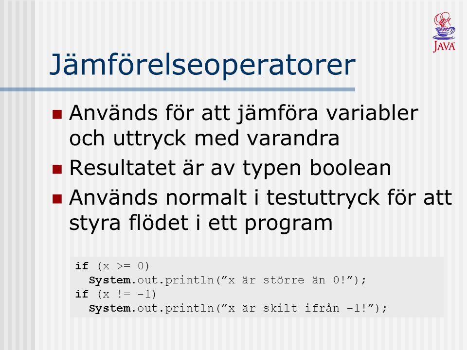 Jämförelseoperatorer Används för att jämföra variabler och uttryck med varandra Resultatet är av typen boolean Används normalt i testuttryck för att styra flödet i ett program if (x >= 0) System.out.println( x är större än 0! ); if (x != -1) System.out.println( x är skilt ifrån –1! );