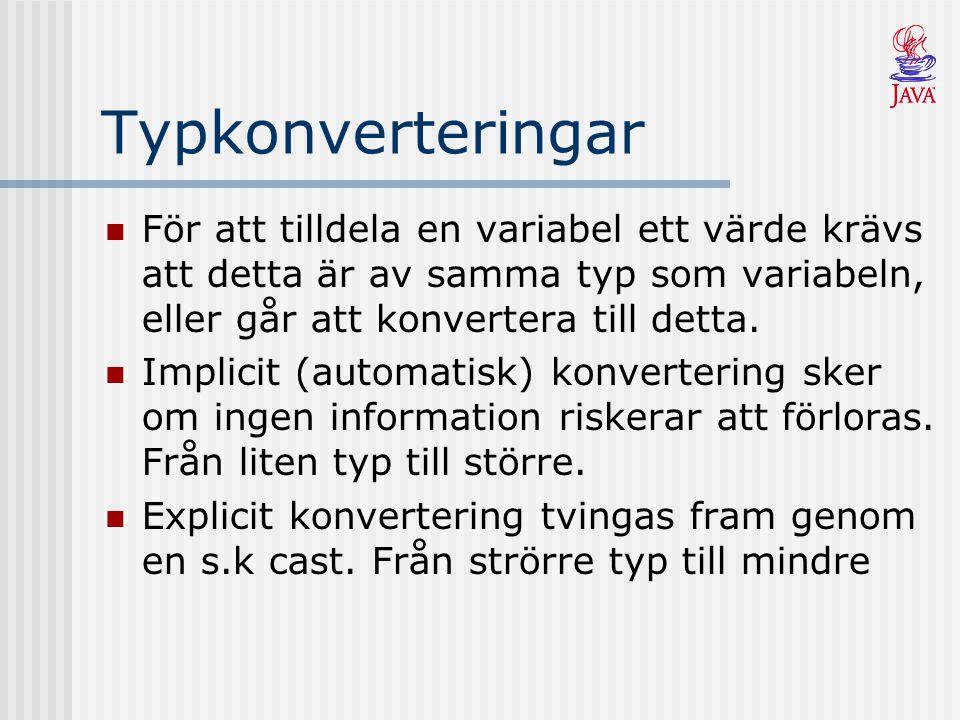Typkonverteringar För att tilldela en variabel ett värde krävs att detta är av samma typ som variabeln, eller går att konvertera till detta.