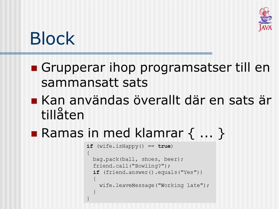Block Grupperar ihop programsatser till en sammansatt sats Kan användas överallt där en sats är tillåten Ramas in med klamrar {...