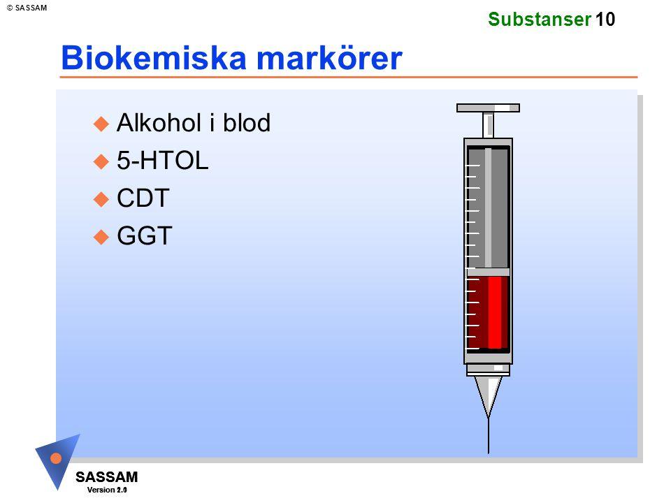 SASSAM Version 1.1 © SASSAM SASSAM Version 1.1 SASSAM Version 2.0 Substanser 10 Biokemiska markörer u Alkohol i blod u 5-HTOL u CDT u GGT