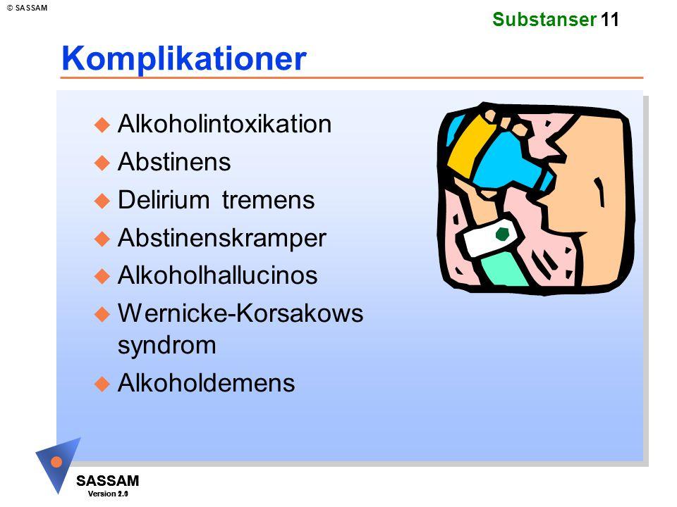 SASSAM Version 1.1 © SASSAM SASSAM Version 1.1 SASSAM Version 2.0 Substanser 11 Komplikationer u Alkoholintoxikation u Abstinens u Delirium tremens u