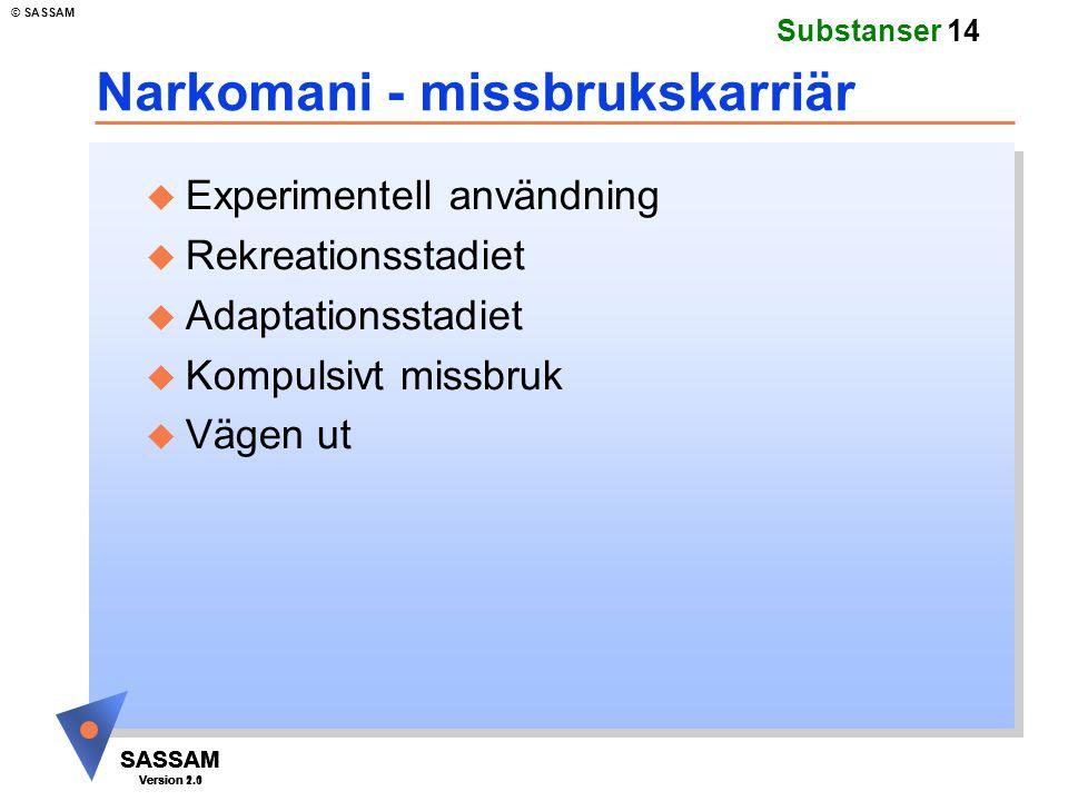 SASSAM Version 1.1 © SASSAM SASSAM Version 1.1 SASSAM Version 2.0 Substanser 14 Narkomani - missbrukskarriär u Experimentell användning u Rekreationss