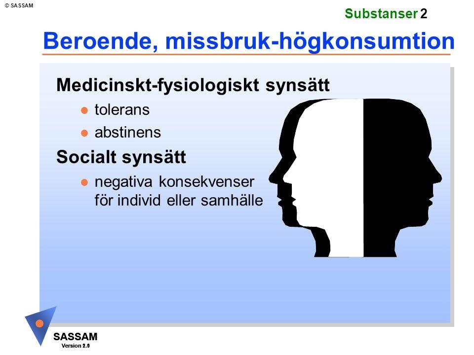 SASSAM Version 1.1 © SASSAM SASSAM Version 1.1 SASSAM Version 2.0 Substanser 2 Beroende, missbruk-högkonsumtion Medicinskt-fysiologiskt synsätt l tole
