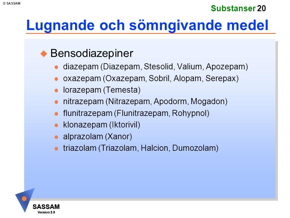 SASSAM Version 1.1 © SASSAM SASSAM Version 1.1 SASSAM Version 2.0 Substanser 20 Lugnande och sömngivande medel u Bensodiazepiner l diazepam (Diazepam,