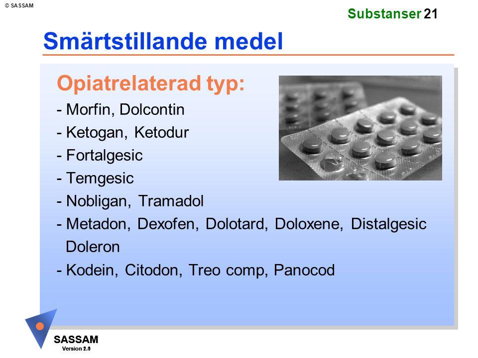 SASSAM Version 1.1 © SASSAM SASSAM Version 1.1 SASSAM Version 2.0 Substanser 21 Smärtstillande medel Opiatrelaterad typ: - Morfin, Dolcontin - Ketogan