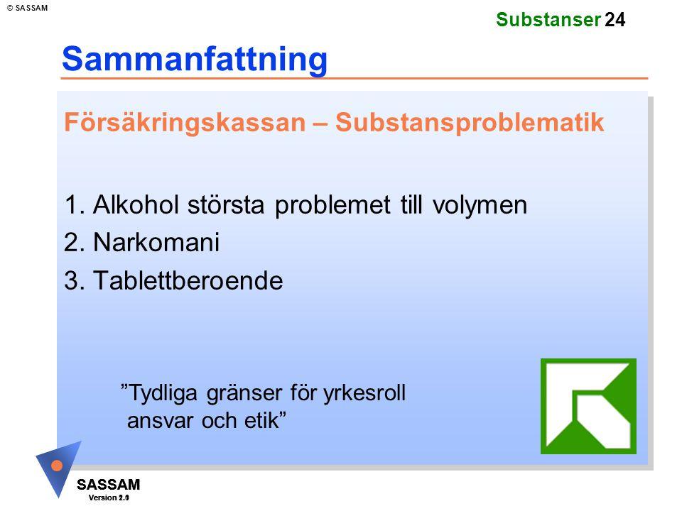 SASSAM Version 1.1 © SASSAM SASSAM Version 1.1 SASSAM Version 2.0 Substanser 24 Sammanfattning Försäkringskassan – Substansproblematik 1. Alkohol stör