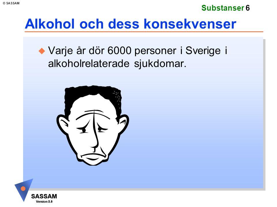 SASSAM Version 1.1 © SASSAM SASSAM Version 1.1 SASSAM Version 2.0 Substanser 6 Alkohol och dess konsekvenser u Varje år dör 6000 personer i Sverige i