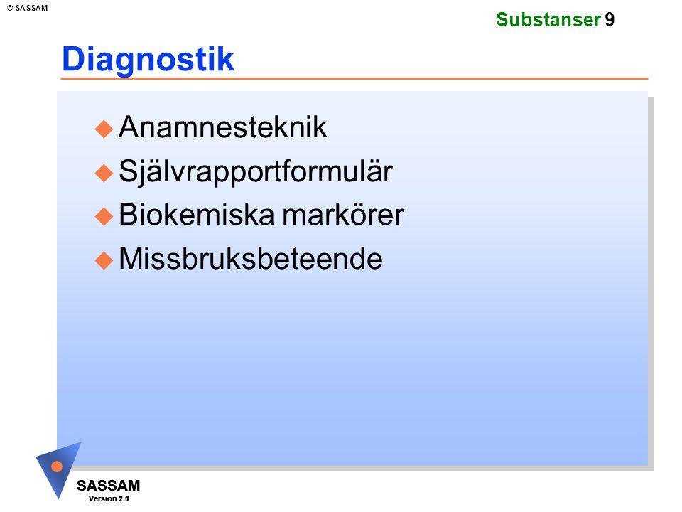 SASSAM Version 1.1 © SASSAM SASSAM Version 1.1 SASSAM Version 2.0 Substanser 9 Diagnostik u Anamnesteknik u Självrapportformulär u Biokemiska markörer