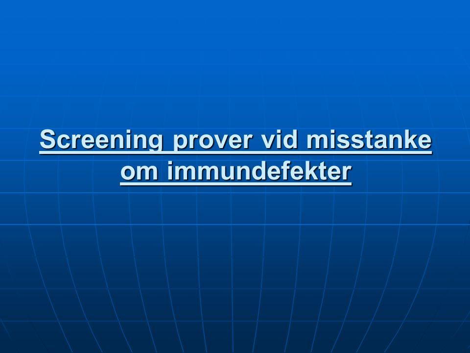 Cellulär immundefekt Antal lymfocyter i vanlig diff.