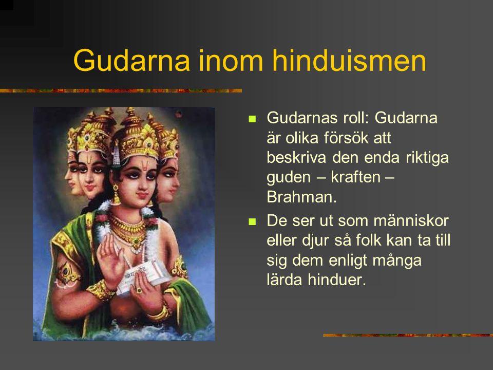 Gudarna inom hinduismen Gudarnas roll: Gudarna är olika försök att beskriva den enda riktiga guden – kraften – Brahman. De ser ut som människor eller