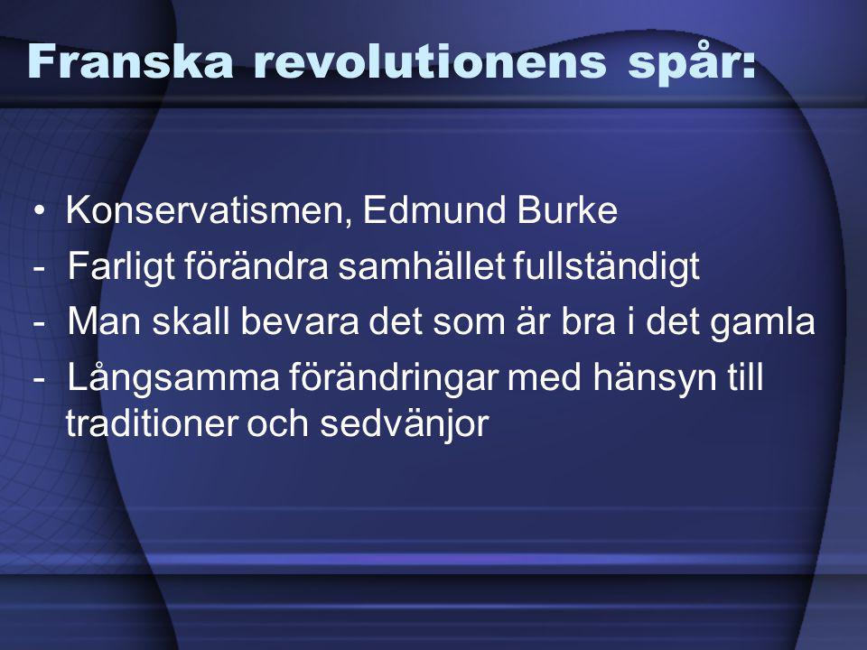 Franska revolutionens spår: Konservatismen, Edmund Burke - Farligt förändra samhället fullständigt - Man skall bevara det som är bra i det gamla - Lån