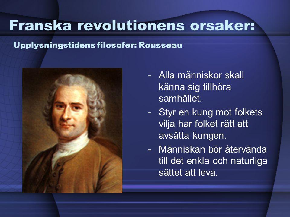 Franska revolutionens orsaker: Upplysningstidens filosofer: Rousseau -Alla människor skall känna sig tillhöra samhället. -Styr en kung mot folkets vil