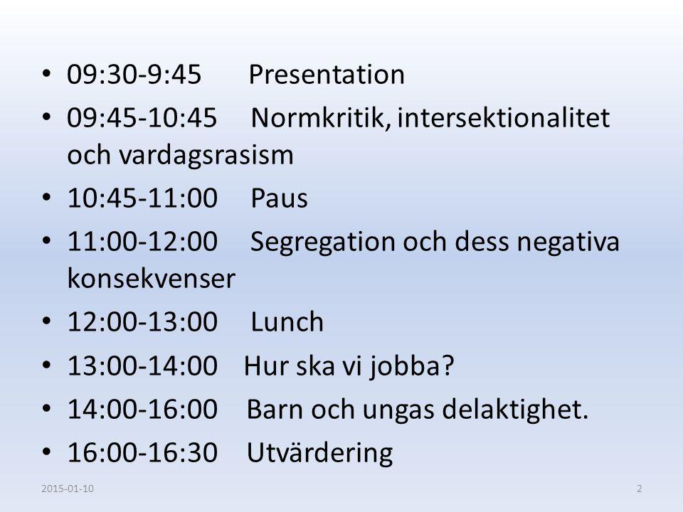 09:30-9:45 Presentation 09:45-10:45 Normkritik, intersektionalitet och vardagsrasism 10:45-11:00 Paus 11:00-12:00 Segregation och dess negativa konsek