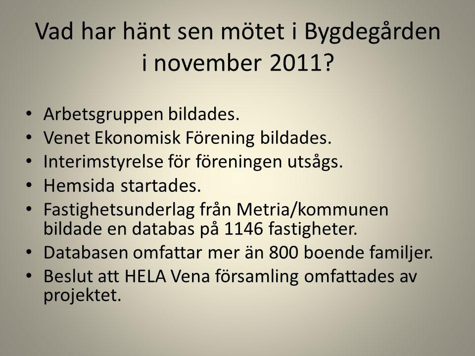 Vad har hänt sen mötet i Bygdegården i november 2011? Arbetsgruppen bildades. Venet Ekonomisk Förening bildades. Interimstyrelse för föreningen utsågs