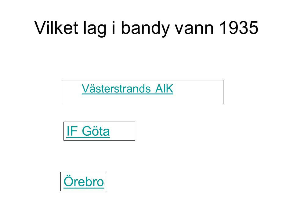 Vilket lag i bandy vann 1935 Västerstrands AIK IF Göta Örebro