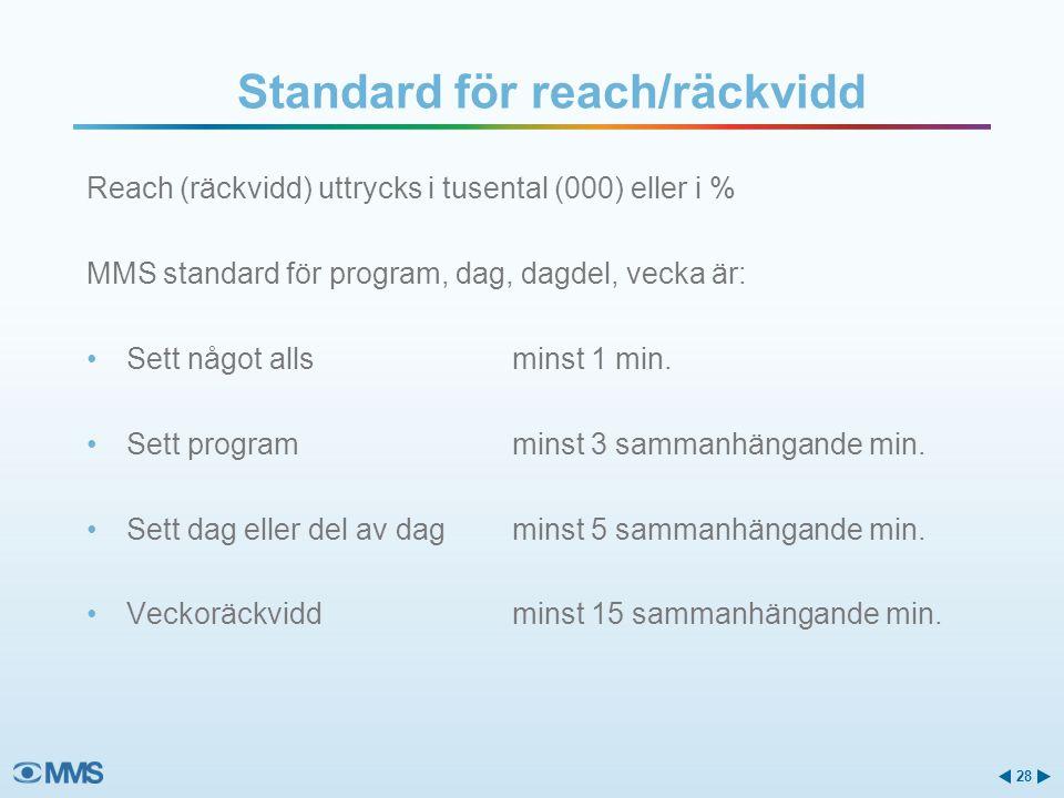 Reach (räckvidd) uttrycks i tusental (000) eller i % MMS standard för program, dag, dagdel, vecka är: Sett något allsminst 1 min.