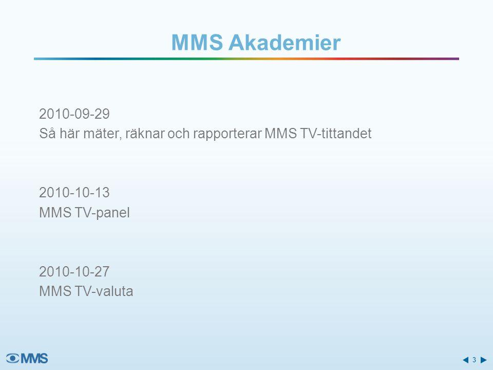 2010-09-29 Så här mäter, räknar och rapporterar MMS TV-tittandet 2010-10-13 MMS TV-panel 2010-10-27 MMS TV-valuta MMS Akademier 3