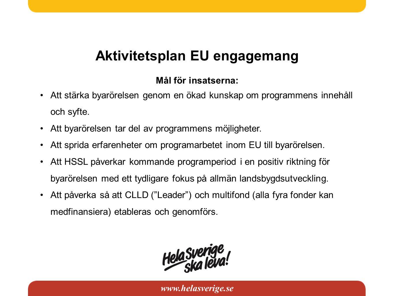 www.helasverige.se Aktivitetsplan EU engagemang Mål för insatserna: Att stärka byarörelsen genom en ökad kunskap om programmens innehåll och syfte.