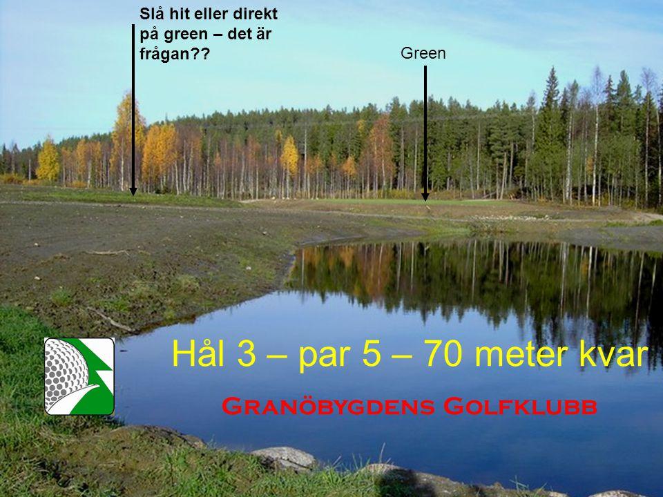 Hål 3 – par 5 – 70 meter kvar Granöbygdens Golfklubb Slå hit eller direkt på green – det är frågan .