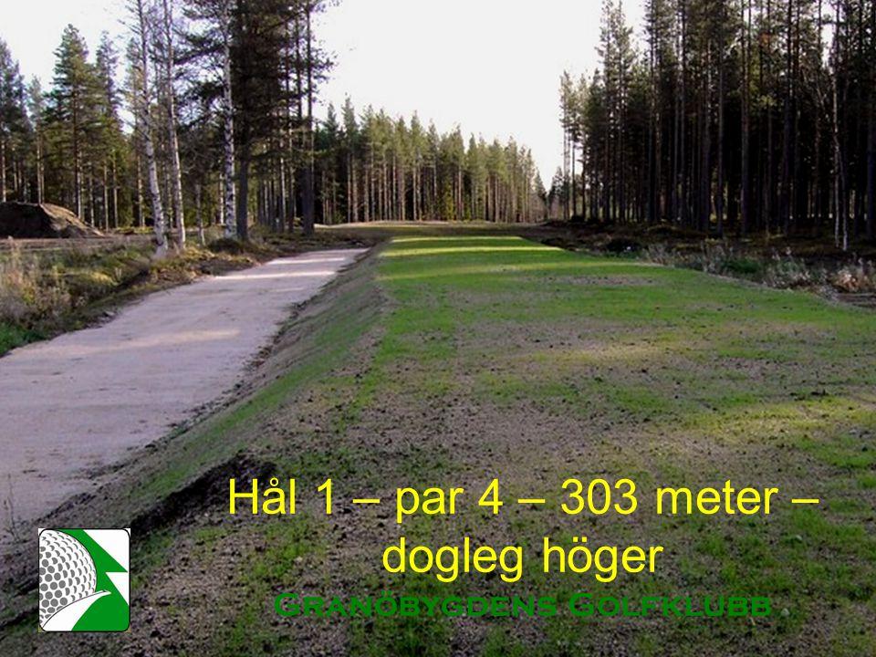 Hål 1 – par 4 – 303 meter – dogleg höger Granöbygdens Golfklubb