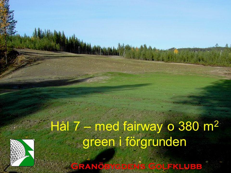 Hål 7 – med fairway o 380 m 2 green i förgrunden Granöbygdens Golfklubb