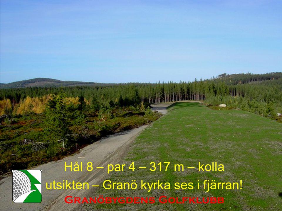 Hål 8 – par 4 – 317 m – kolla utsikten – Granö kyrka ses i fjärran! Granöbygdens Golfklubb