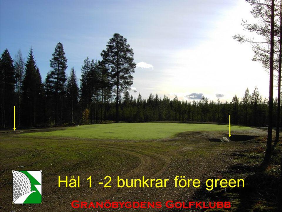 Hål 1 -2 bunkrar före green Granöbygdens Golfklubb