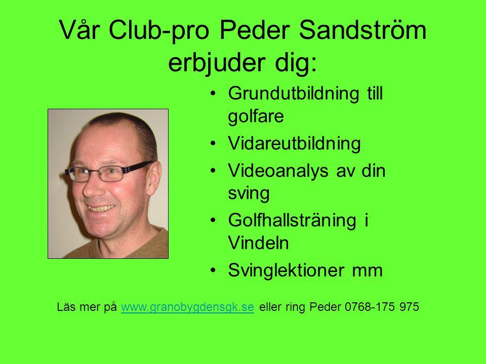 Vår Club-pro Peder Sandström erbjuder dig: Grundutbildning till golfare Vidareutbildning Videoanalys av din sving Golfhallsträning i Vindeln Svinglektioner mm Läs mer på www.granobygdensgk.se eller ring Peder 0768-175 975www.granobygdensgk.se