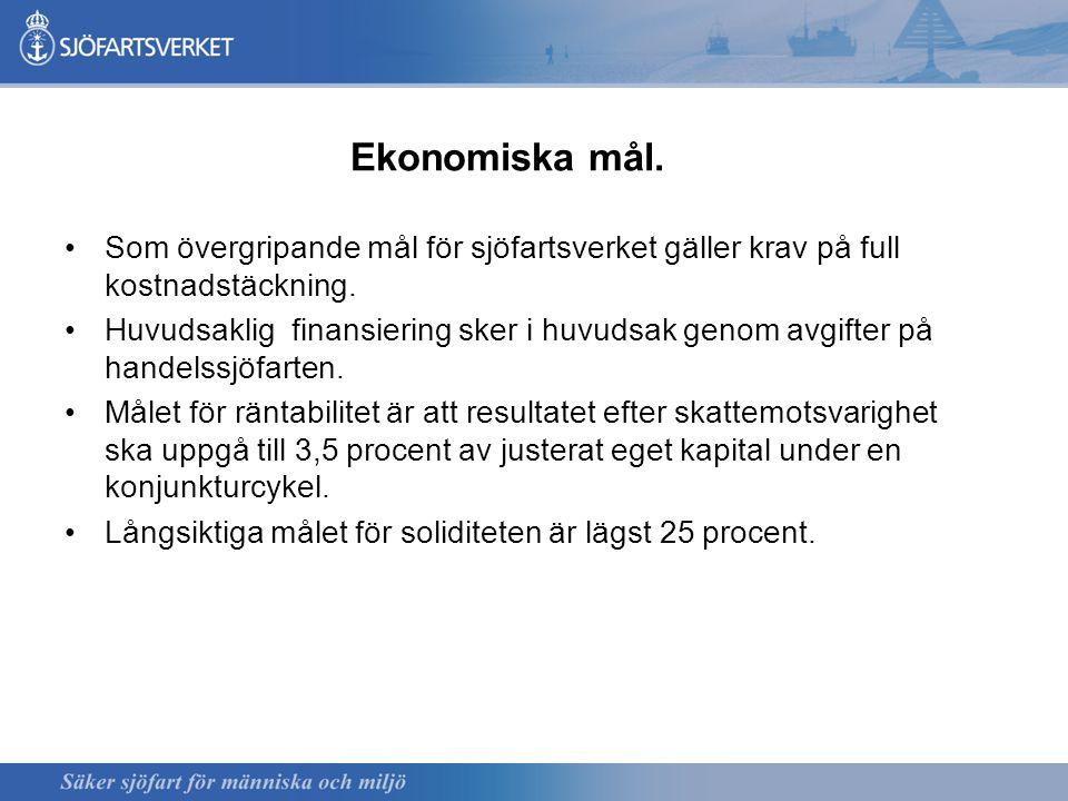 Ekonomiska mål. Som övergripande mål för sjöfartsverket gäller krav på full kostnadstäckning.