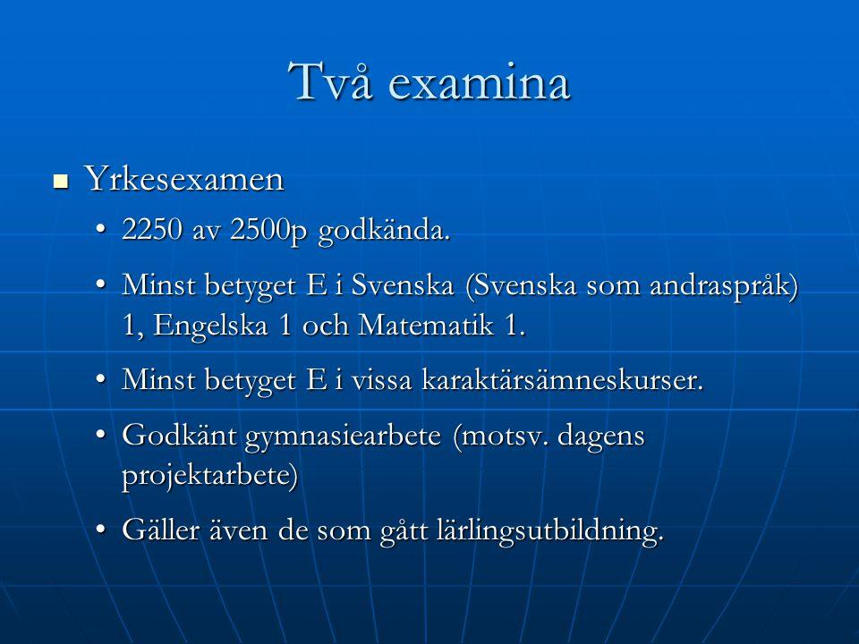 Två examina Yrkesexamen Yrkesexamen 2250 av 2500p godkända.2250 av 2500p godkända. Minst betyget E i Svenska (Svenska som andraspråk) 1, Engelska 1 oc