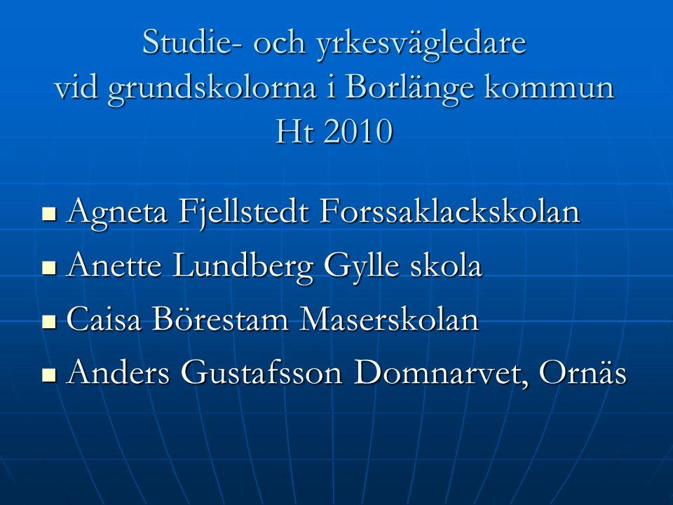 Studie- och yrkesvägledare vid grundskolorna i Borlänge kommun Ht 2010 Agneta Fjellstedt Forssaklackskolan Agneta Fjellstedt Forssaklackskolan Anette