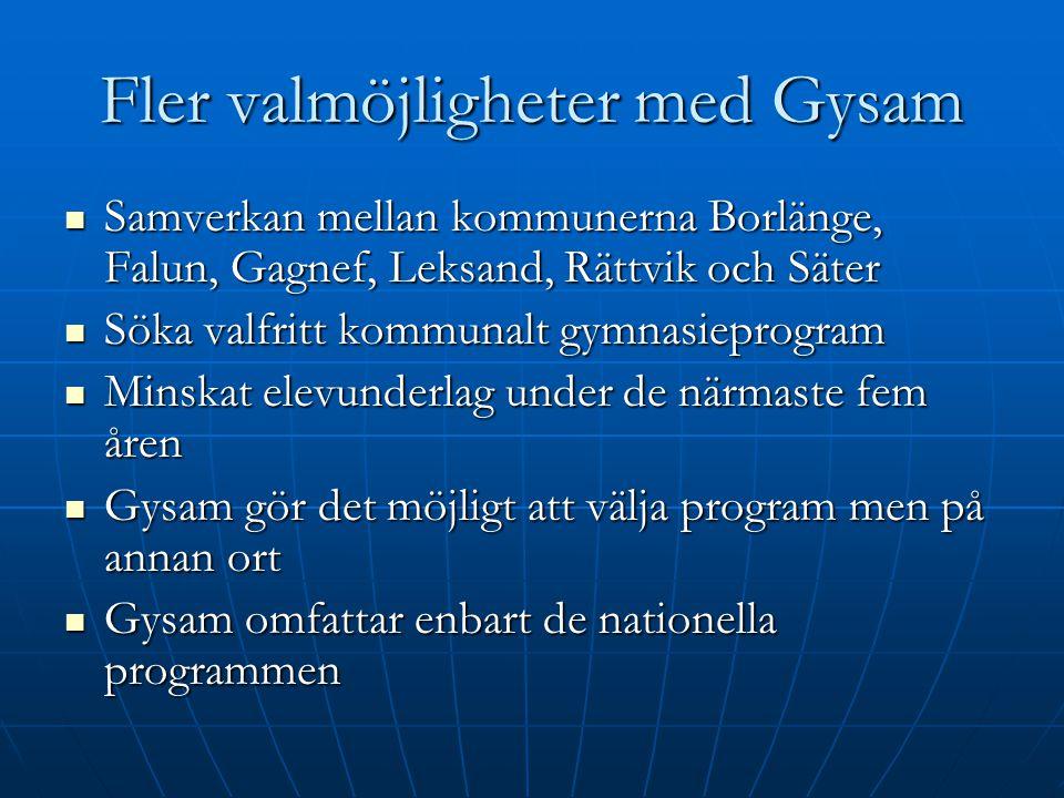 Fler valmöjligheter med Gysam Samverkan mellan kommunerna Borlänge, Falun, Gagnef, Leksand, Rättvik och Säter Samverkan mellan kommunerna Borlänge, Fa