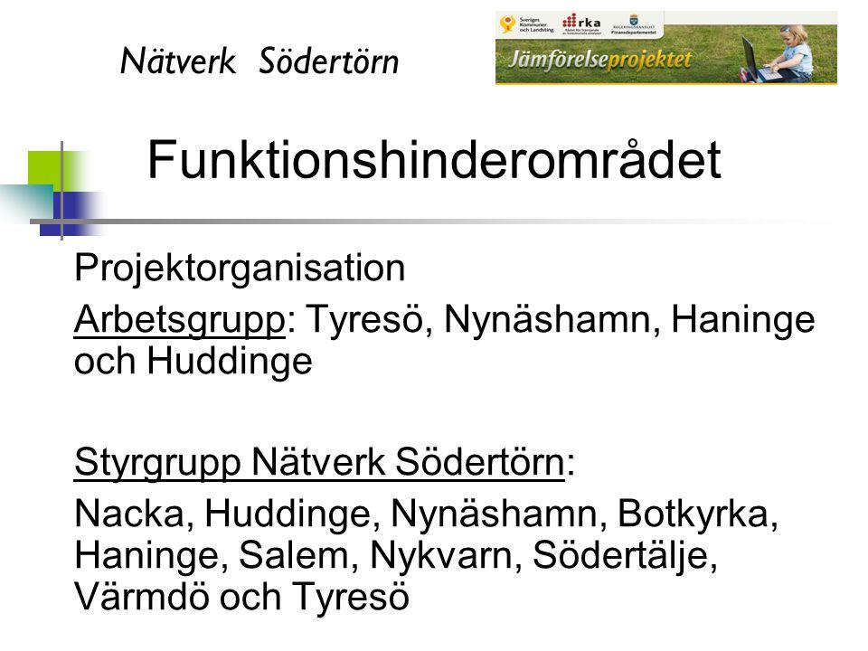 Nätverk Södertörn Funktionshinderområdet Projektorganisation Arbetsgrupp: Tyresö, Nynäshamn, Haninge och Huddinge Styrgrupp Nätverk Södertörn: Nacka,