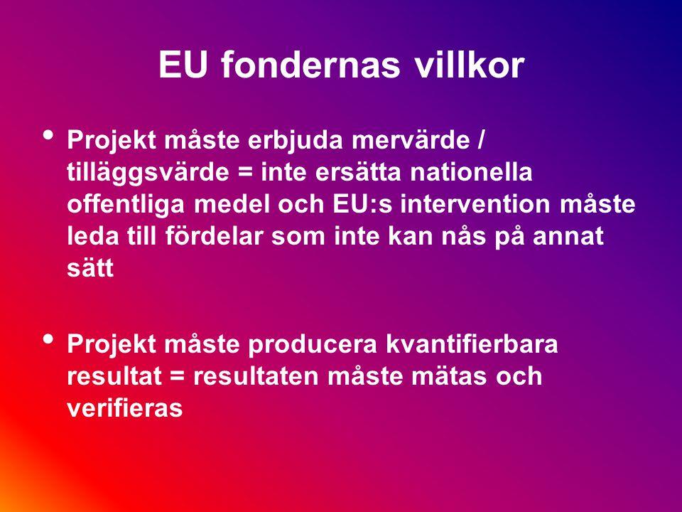 EU projekt måste innehålla följande element förutom de utlovade aktiviteterna: synliggörande / publicering följeforskning / utvärdering spridning / dissemination dokumentation av alla faser i projektet rekvisitioner och delrapporter slutrapport och slutrekvisition egen revision (i större projekt)