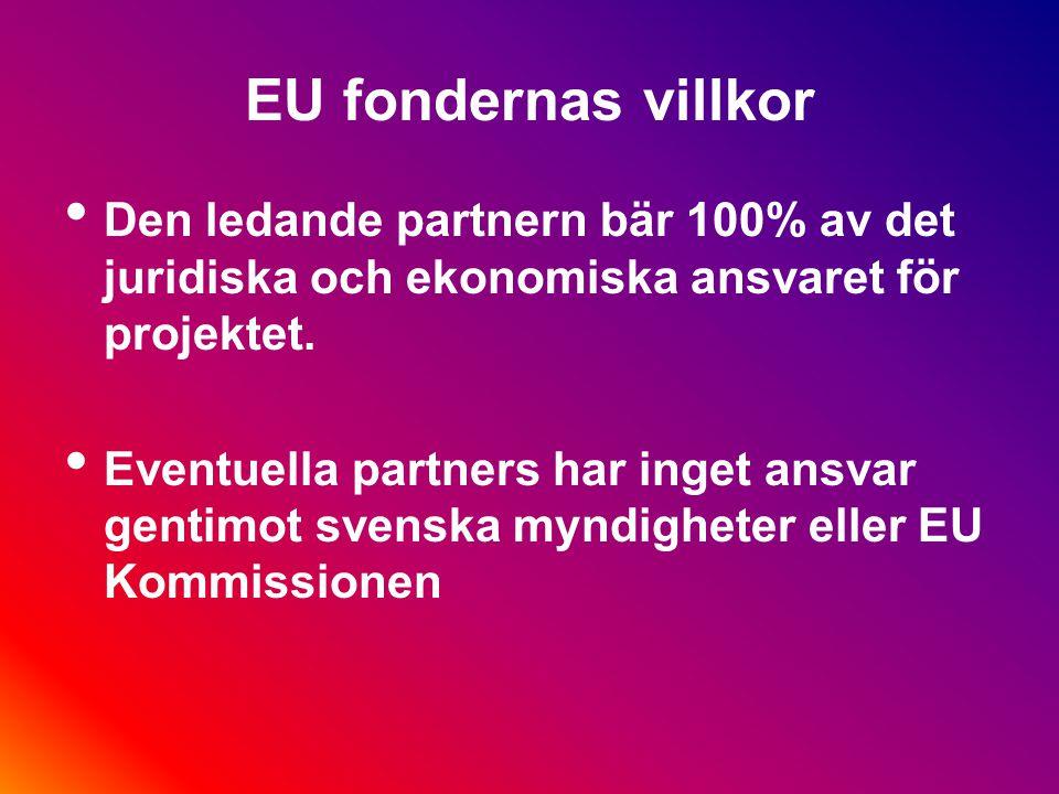 EU fondernas villkor All upphandling måste ske efter regler om offentlig upphandling eller på affärsmässiga grunder (särskilt viktigt när det gäller extern personal och tjänster) I projekt som erbjuder stöd åt företag måste reglerna om statsstöd följas...och man måste kunna visa hur detta gjorts