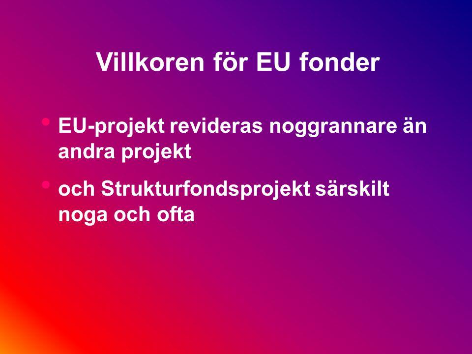 EU fondernas villkor Om projektet misslyckas, reglerna inte följs, resultaten är avsevärt sämre än väntat, kostnader inte kan veriferias kan projektet