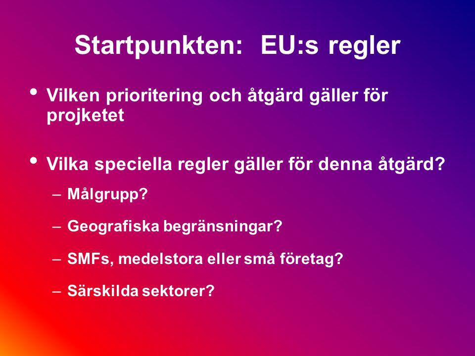 Startpunkten: EU:s regler Vilken prioritering och åtgärd gäller för projketet Vilka speciella regler gäller för denna åtgärd.