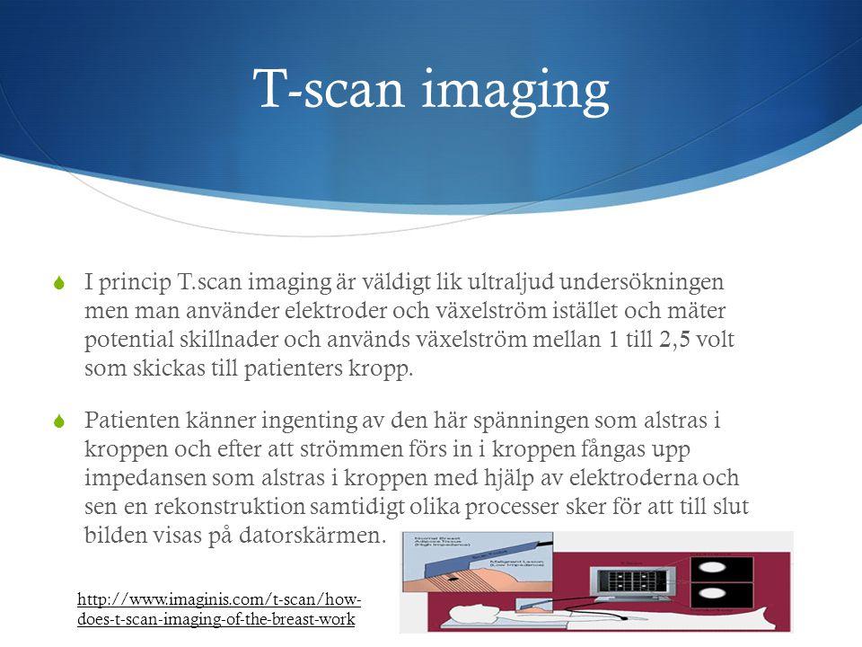 T-scan imaging  I princip T.scan imaging är väldigt lik ultraljud undersökningen men man använder elektroder och växelström istället och mäter potent