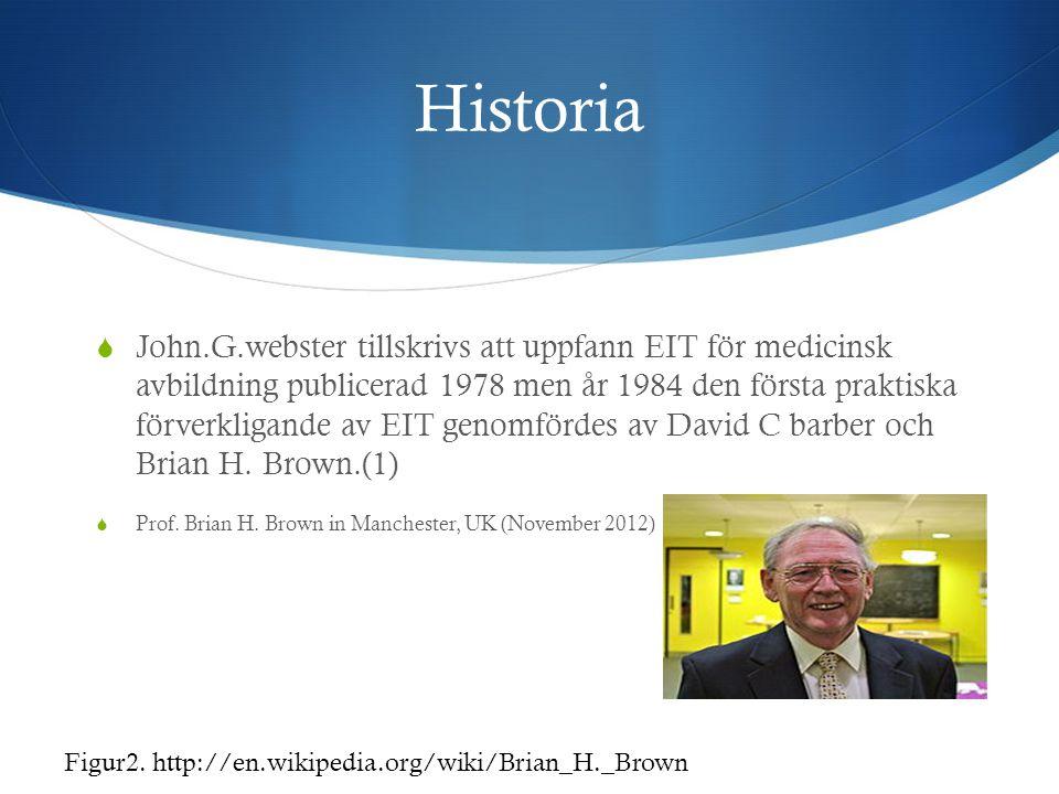 Historia  John.G.webster tillskrivs att uppfann EIT för medicinsk avbildning publicerad 1978 men år 1984 den första praktiska förverkligande av EIT g