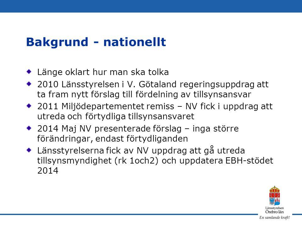 Bakgrund - nationellt Länge oklart hur man ska tolka 2010 Länsstyrelsen i V. Götaland regeringsuppdrag att ta fram nytt förslag till fördelning av til