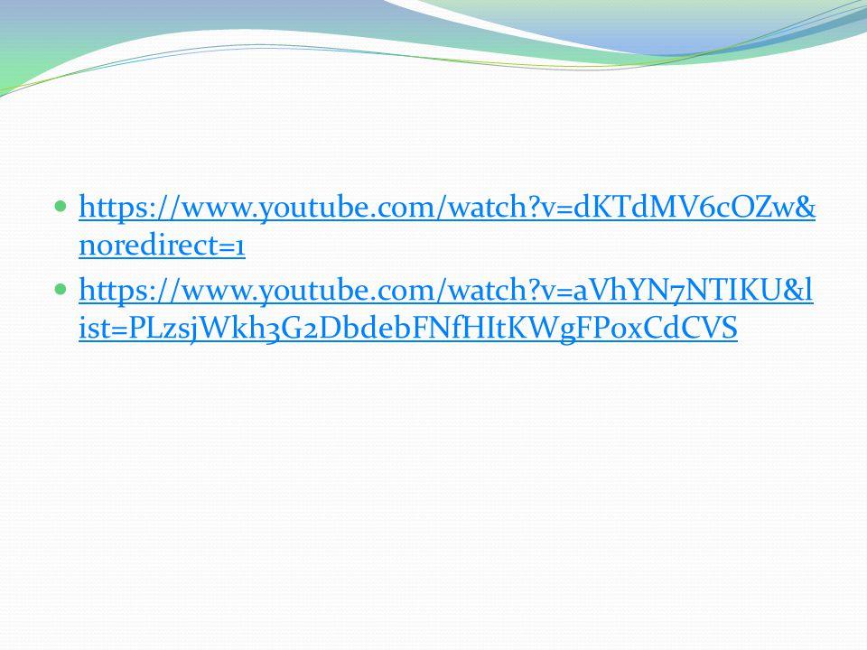 https://www.youtube.com/watch?v=dKTdMV6cOZw& noredirect=1 https://www.youtube.com/watch?v=dKTdMV6cOZw& noredirect=1 https://www.youtube.com/watch?v=aVhYN7NTIKU&l ist=PLzsjWkh3G2DbdebFNfHItKWgFP0xCdCVS https://www.youtube.com/watch?v=aVhYN7NTIKU&l ist=PLzsjWkh3G2DbdebFNfHItKWgFP0xCdCVS