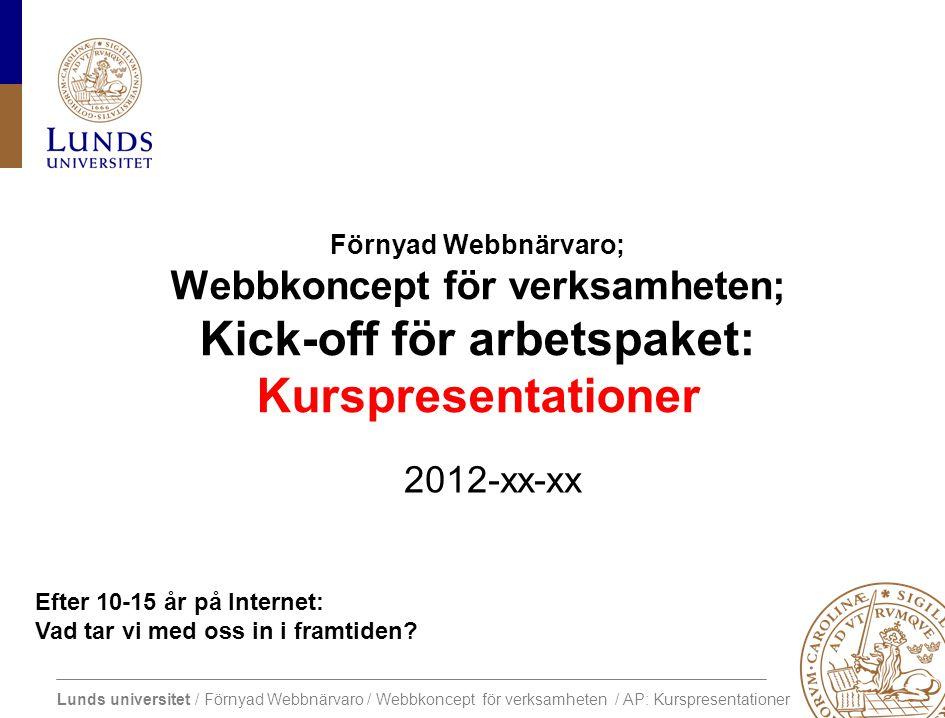 Lunds universitet / Förnyad Webbnärvaro / Webbkoncept för verksamheten / AP: Kurspresentationer Central webbplats Framtida utveckling av extern webbnärvaro Projektslut Dec 2012.