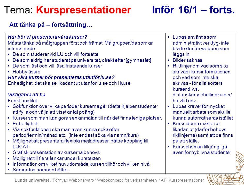 Lunds universitet / Förnyad Webbnärvaro / Webbkoncept för verksamheten / AP: Kurspresentationer Tema: KurspresentationerInför 16/1 – forts. Hur bör vi