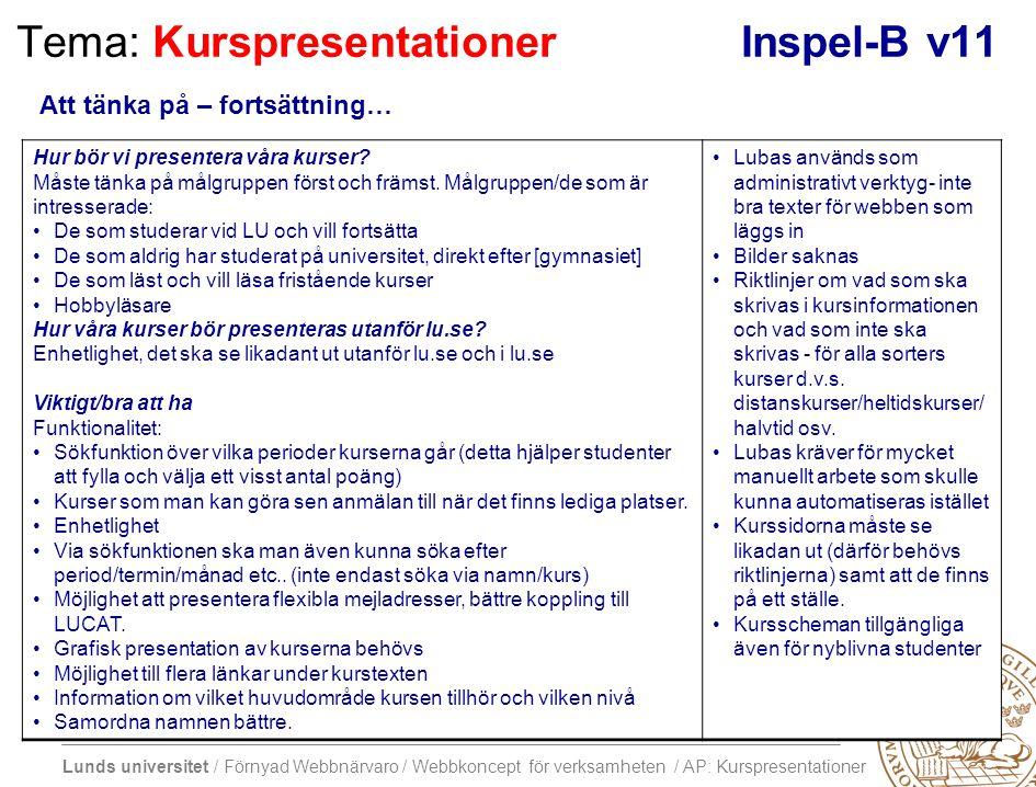 Lunds universitet / Förnyad Webbnärvaro / Webbkoncept för verksamheten / AP: Kurspresentationer Tema: KurspresentationerInspel-B v11 Hur bör vi presen