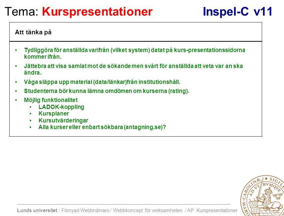 Lunds universitet / Förnyad Webbnärvaro / Webbkoncept för verksamheten / AP: Kurspresentationer Tema: KurspresentationerInspel-C v11 Att tänka på Tydliggöra för anställda varifrån (vilket system) datat på kurs-presentationssidorna kommer ifrån.