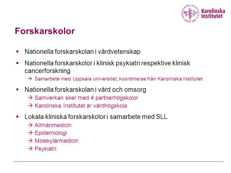 Forskarskolor  Nationella forskarskolan i vårdvetenskap  Nationella forskarskolor i klinisk psykiatri respektive klinisk cancerforskning  Samarbete